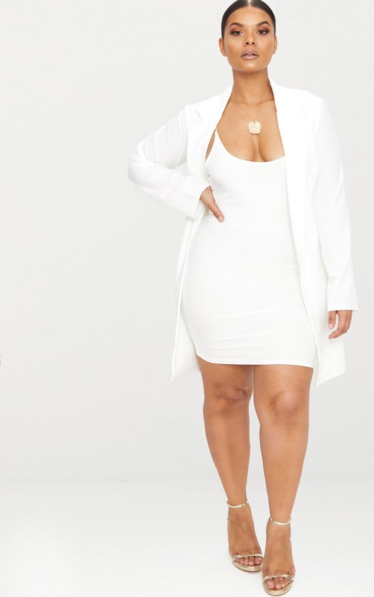 Plus White Longline Blazer 1