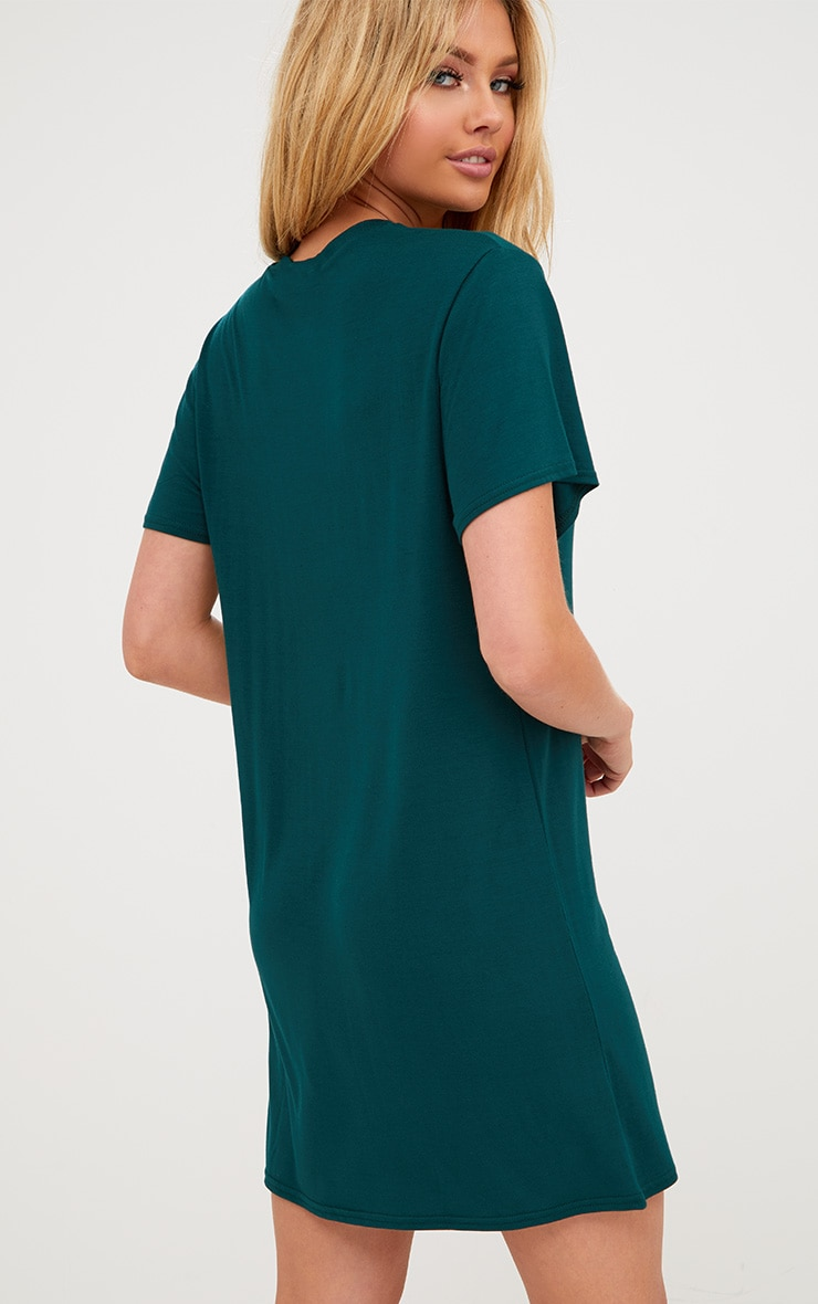 Basic Forest Green  Short Sleeve T-Shirt Dress 2