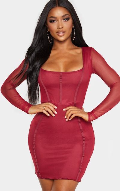 Shape Burgundy Sheer Mesh Square Neck Binding Detail Bodycon Dress