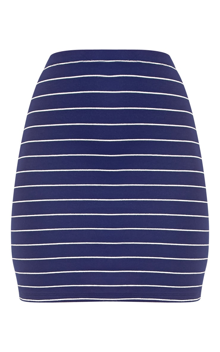 Alishea Navy Ponte Stripe Mini Skirt 3