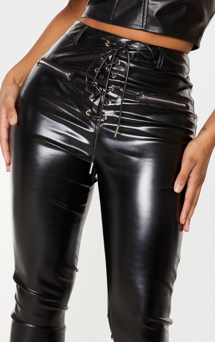 Shape - Pantalon skinny en similicuir noir à laçage 5