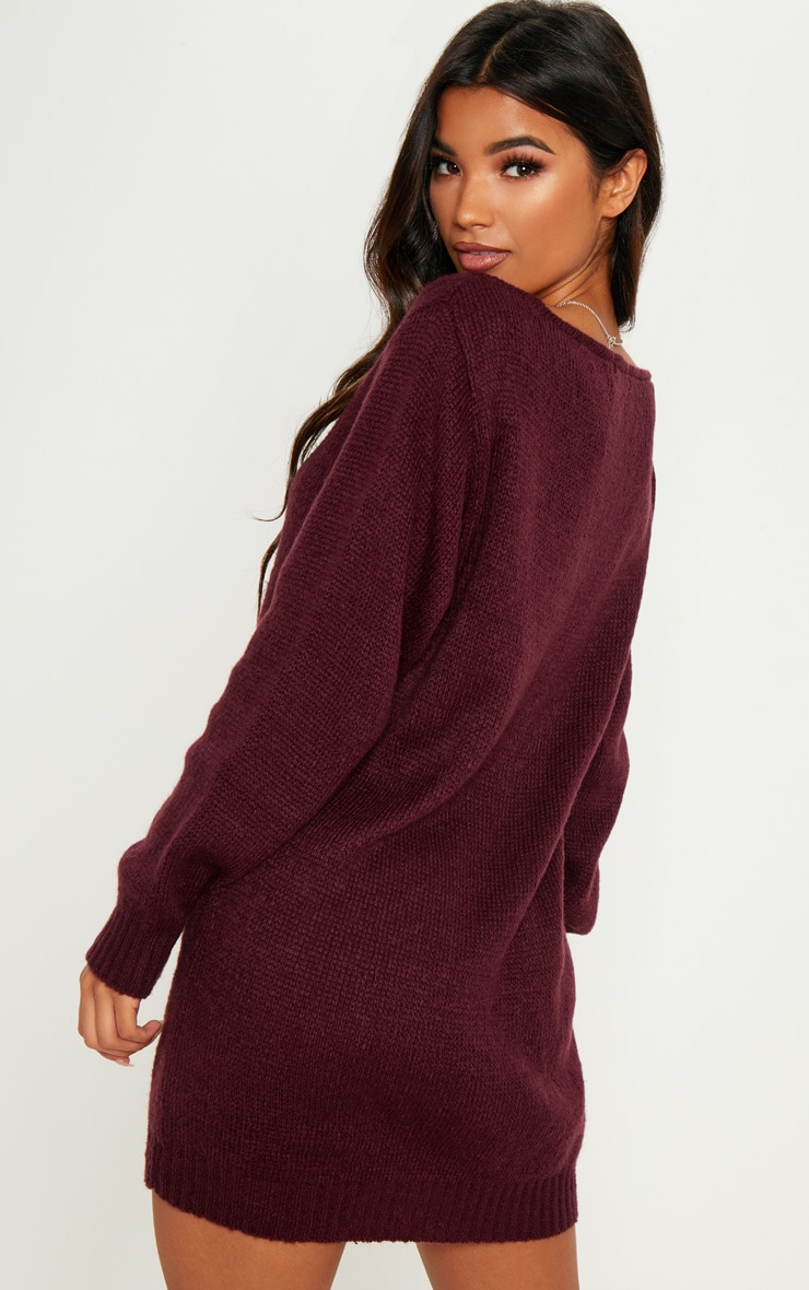 Burgundy Soft Knitted Off the Shoulder Mini Dress 2