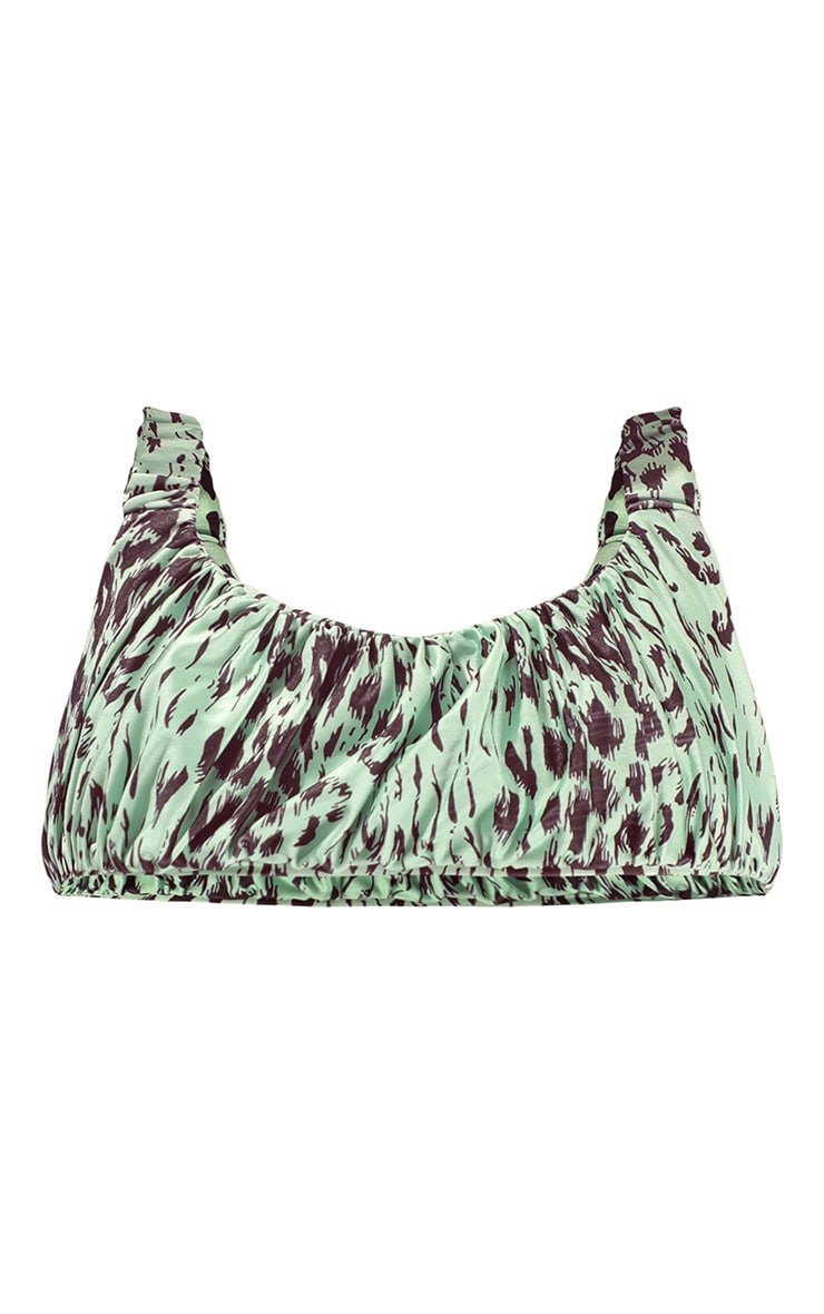 Green Animal Print Ruched Strap Bikini Top 5