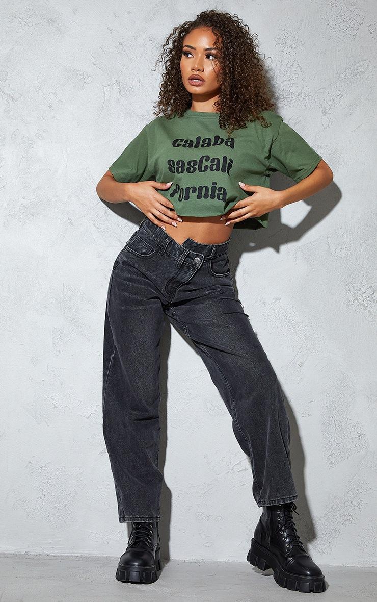 Petite Green Calabasas Crop T Shirt 3