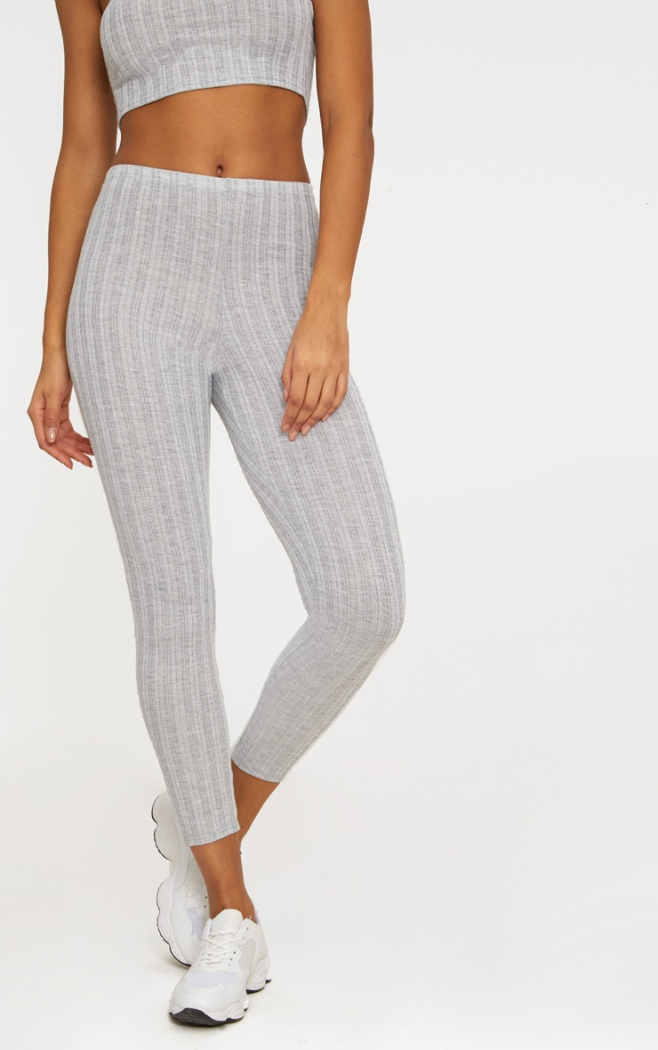Grey Marl Rib Leggings 2