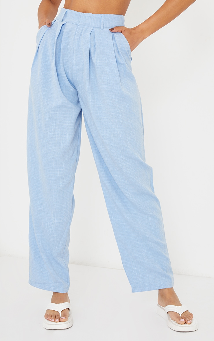 Pale Blue Woven Textured High Waisted Cigarette Trousers 2