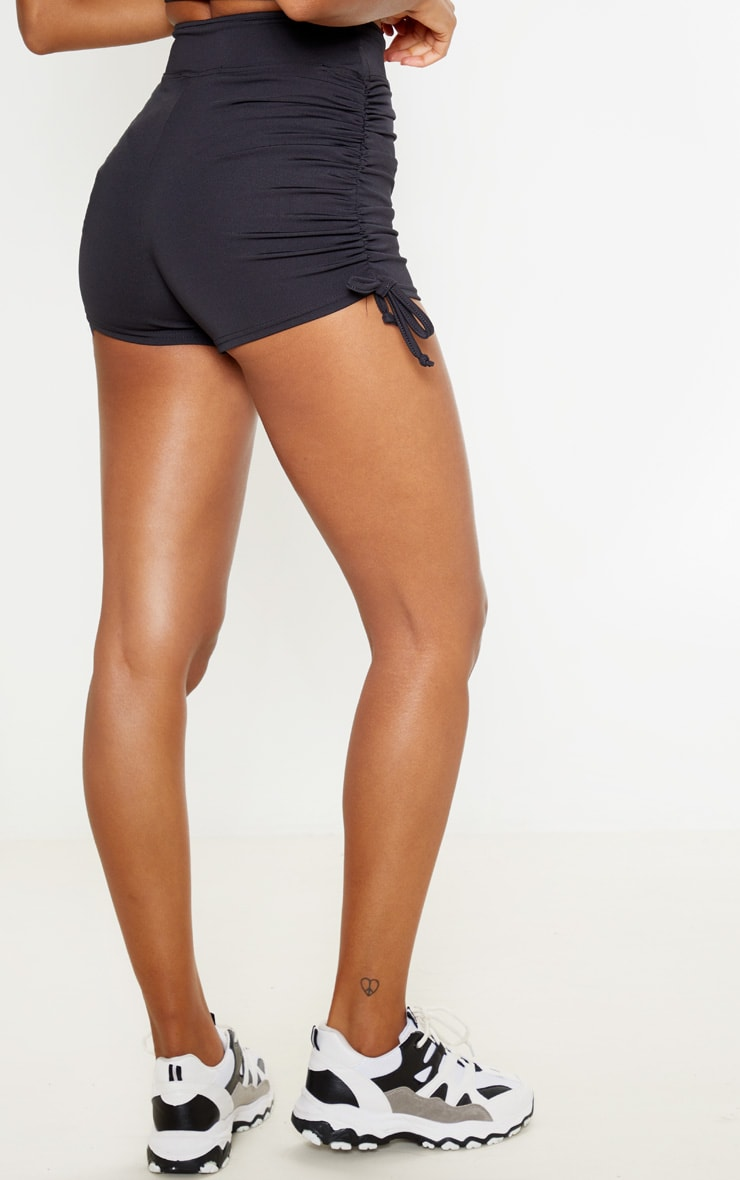 Black Ruched Side Seam Booty Shorts 4