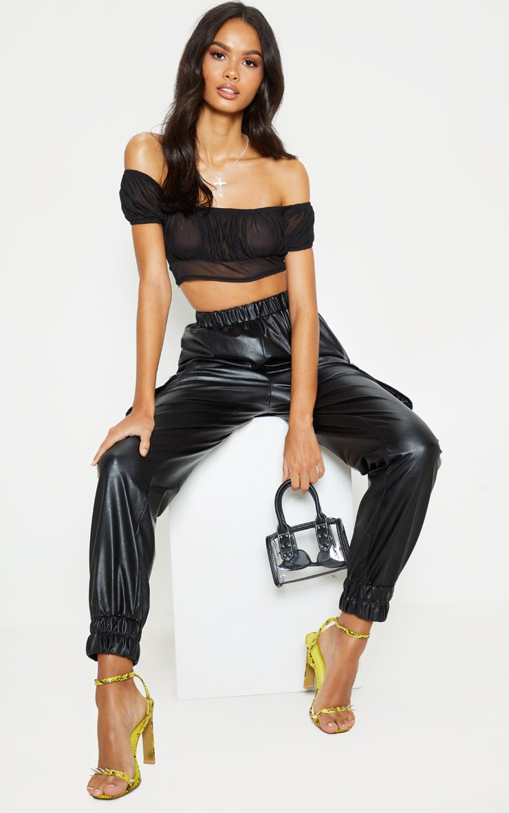 Black Ruched Mesh Crop T Shirt 4