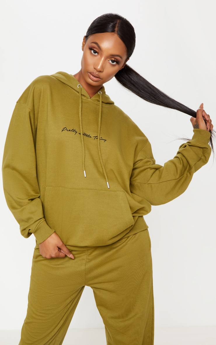 PRETTYLITTLETHING Khaki Embroidered Oversized Hoodie 1