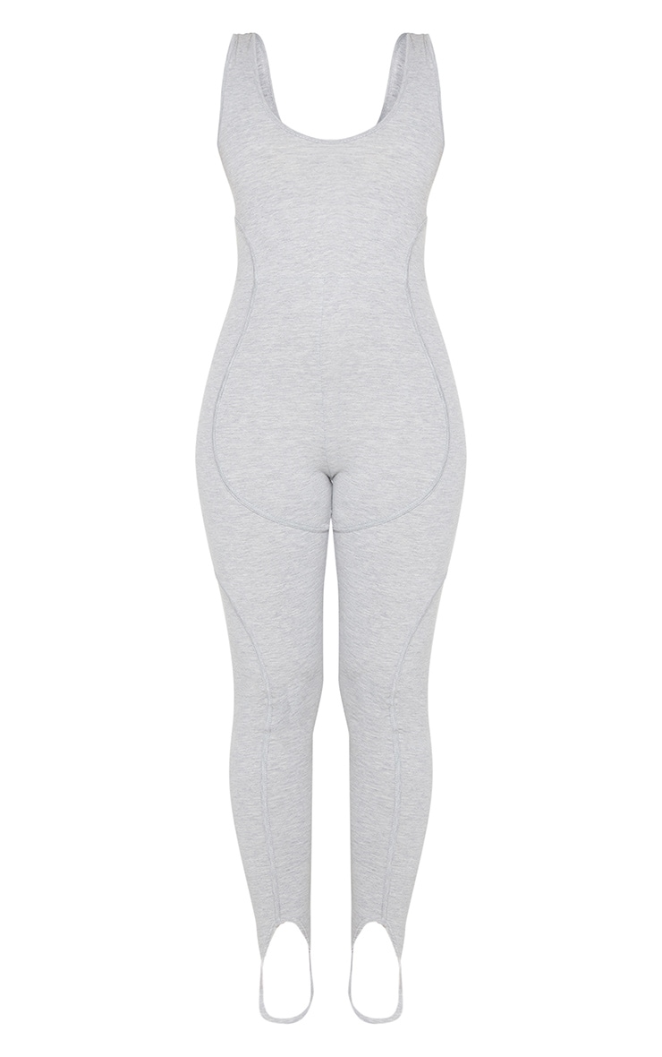Grey Binding Detail Scoop Neck Stirrup Jumpsuit 5