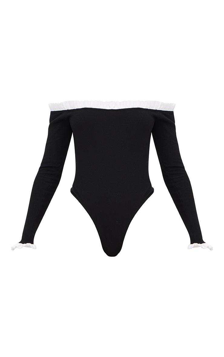 Black Contrast Frill Long Sleeve Bardot Thong Bodysuit 3