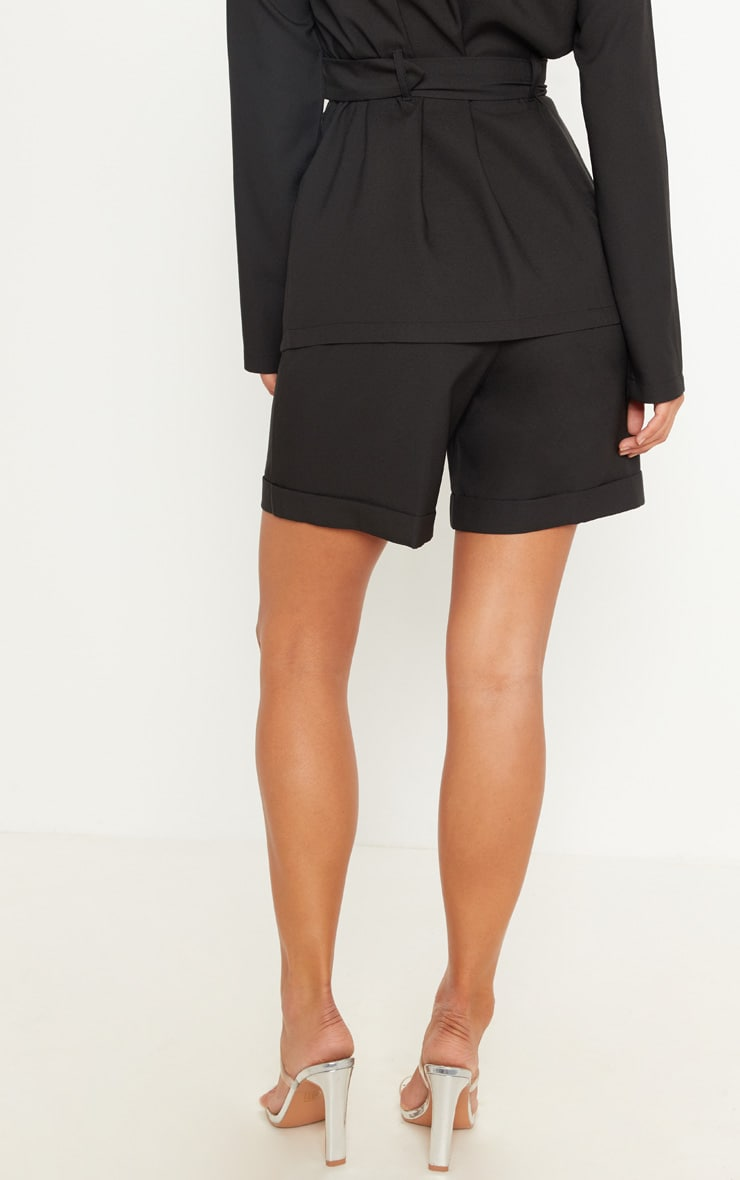 Black Woven High Waisted Shorts 4