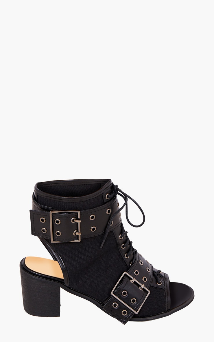 Black Buckle Lace Up Ankle Boots 3