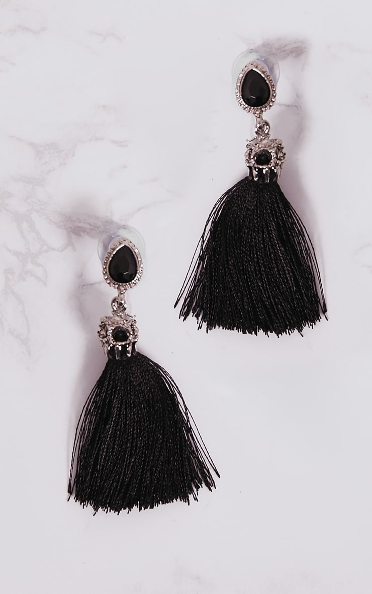Black Jewel Stud Tassel Earrings 3