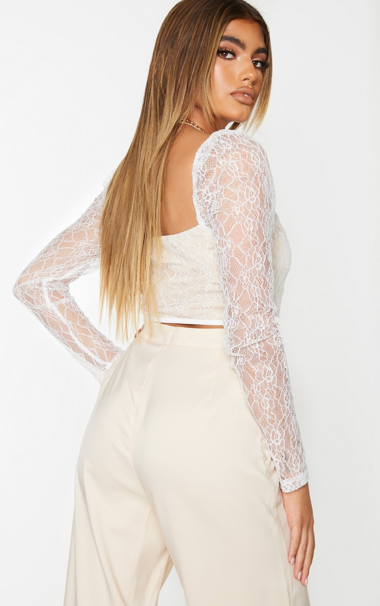 White Lace Curved Hem Lace Up Long Sleeve Top 2