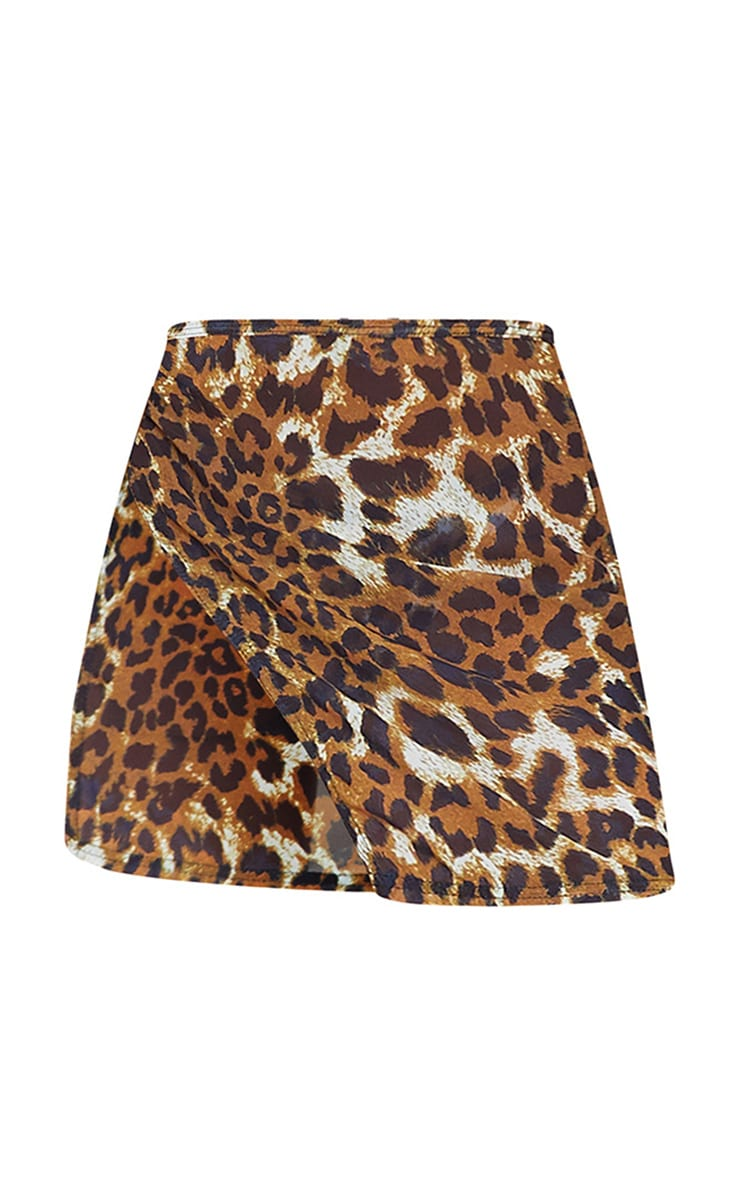 Brown Leopard Print Tie Side Mini Sarong 6