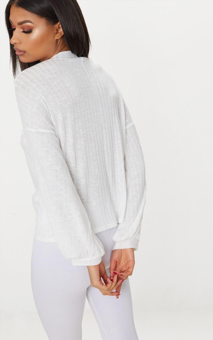 Cream High Neck Rib Long Sleeve Top  2
