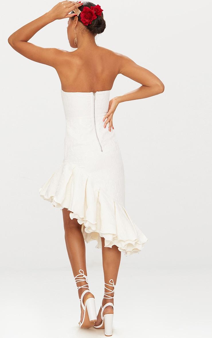 White Jacquard Bandeau Asymmetric Frill Hem Midi Dress 3