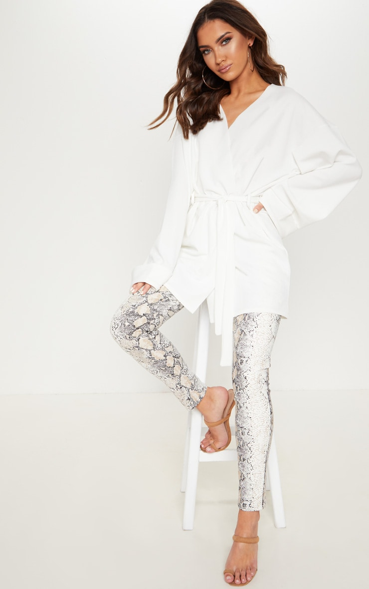 Cream Belted Oversized Sleeve Blazer 4