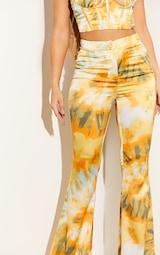 Orange Tie Dye Woven Flared Trousers 4