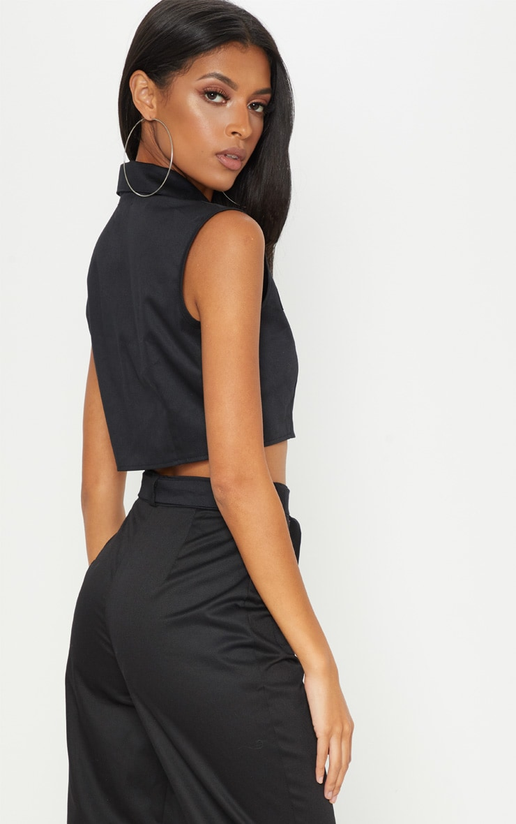 Black Cargo Collar Button Detail Crop Top 2
