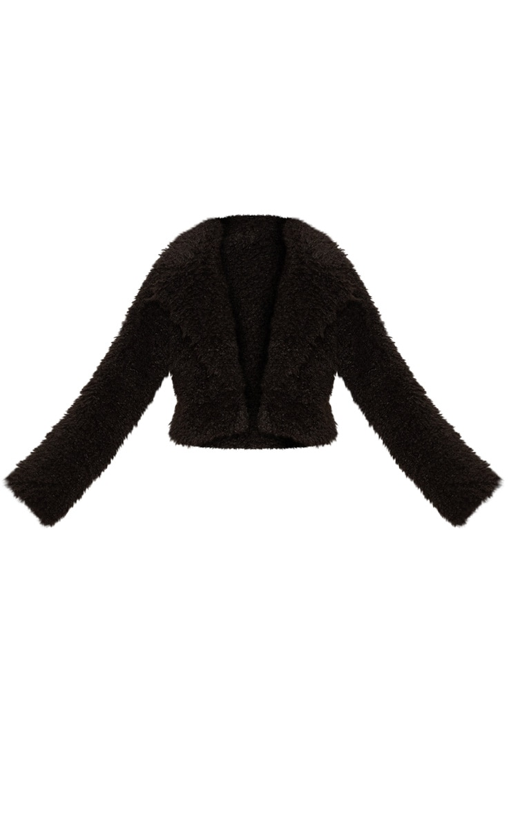 Black Teddy Faux Fur Cropped Jacket  3