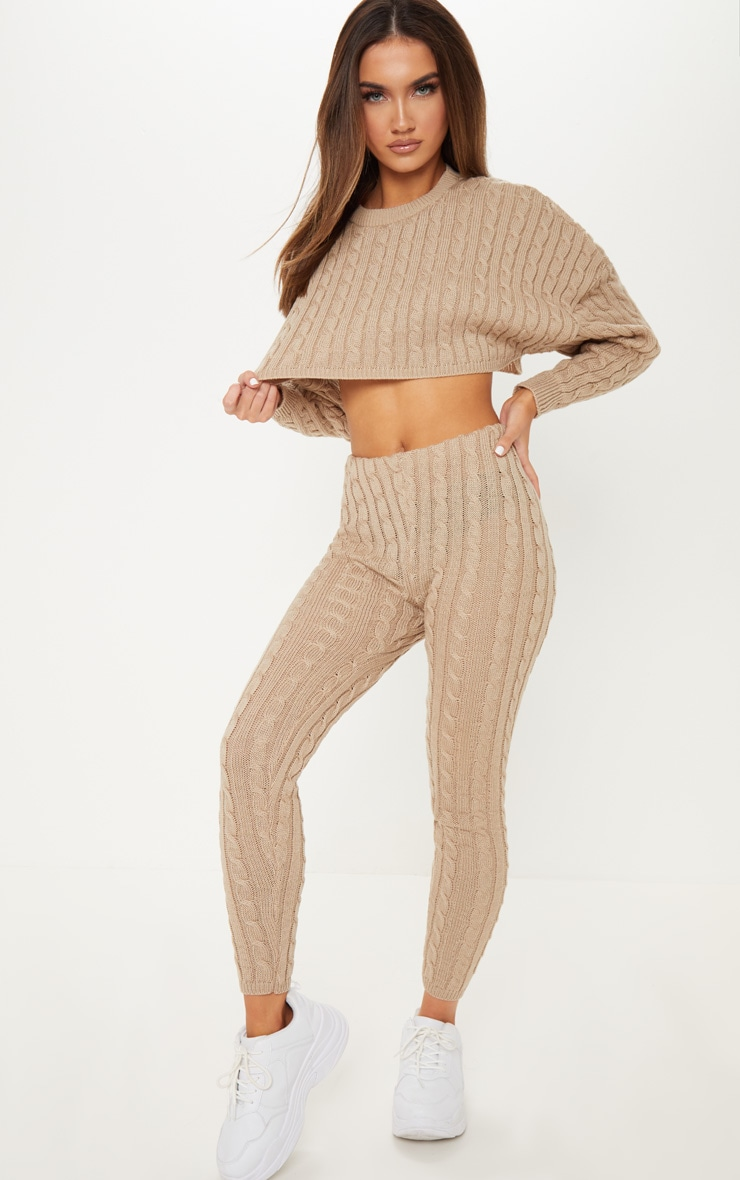 Stone Cable Knit Crop Jumper & Legging Set 1