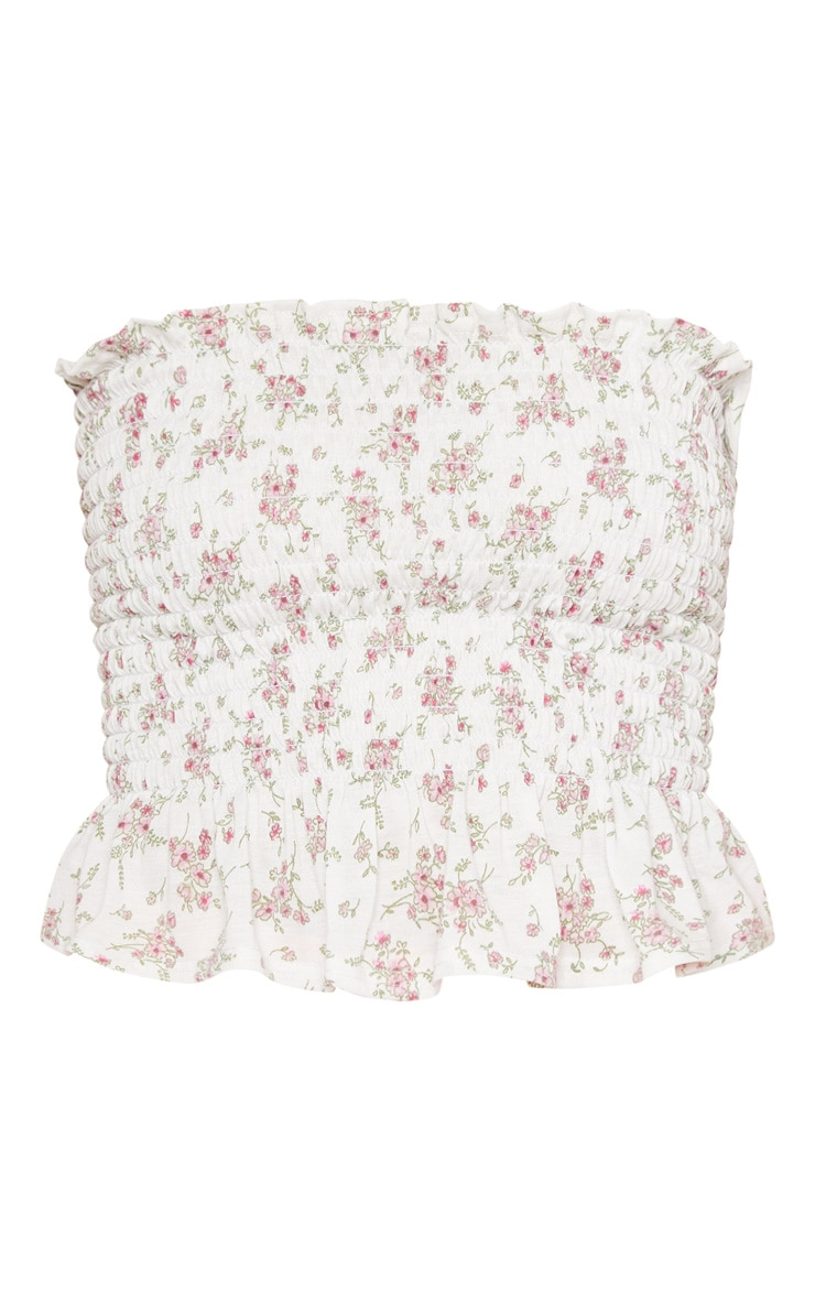 White Shirred Printed Bandeau Crop Top  3