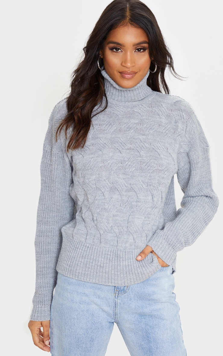 Light Grey Roll Neck Twisted Cable Front Jumper 4