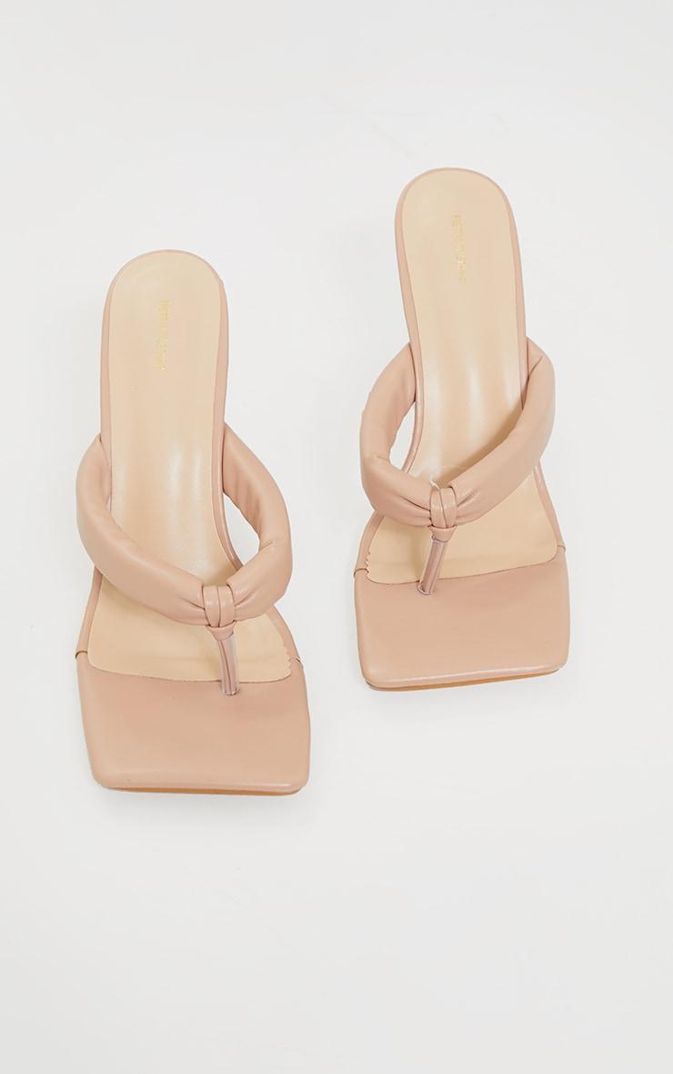 Nude PU Tube Strap Toe Thong Mid Heels 3