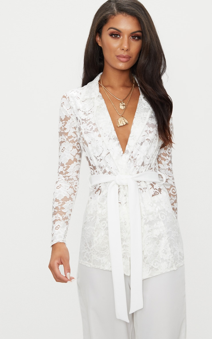 White Lace Belted Blazer 1