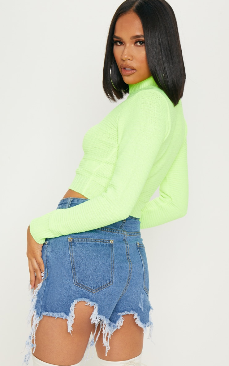 Neon Lime Ribbed Cropped Knitted Jumper  2