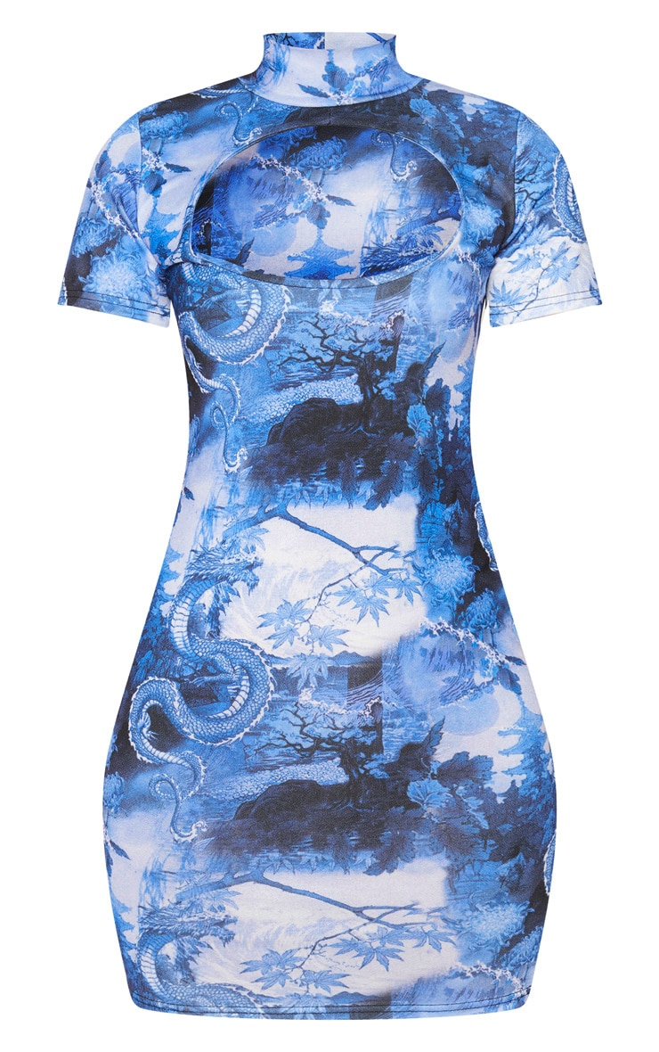 Robe moulante découpée bleue imprimée asiatique à manches courtes et col montant 3