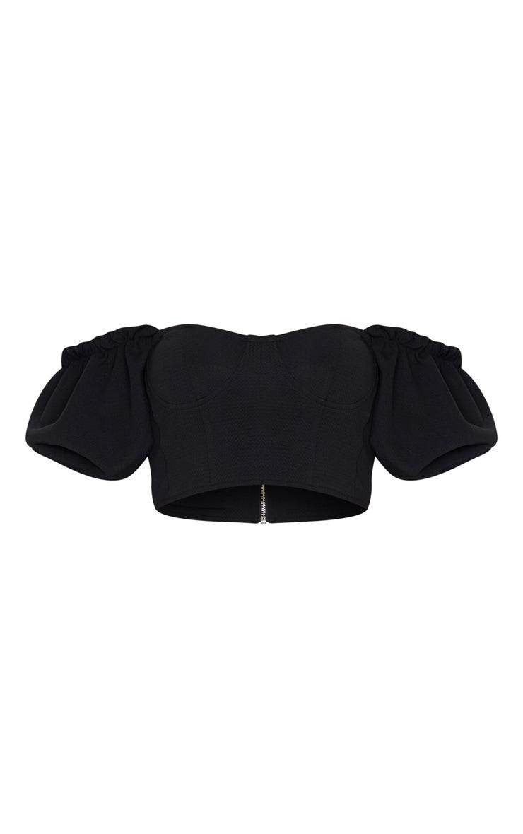 Black Textured Crepe Bardot Puff Sleeve Crop Top 3