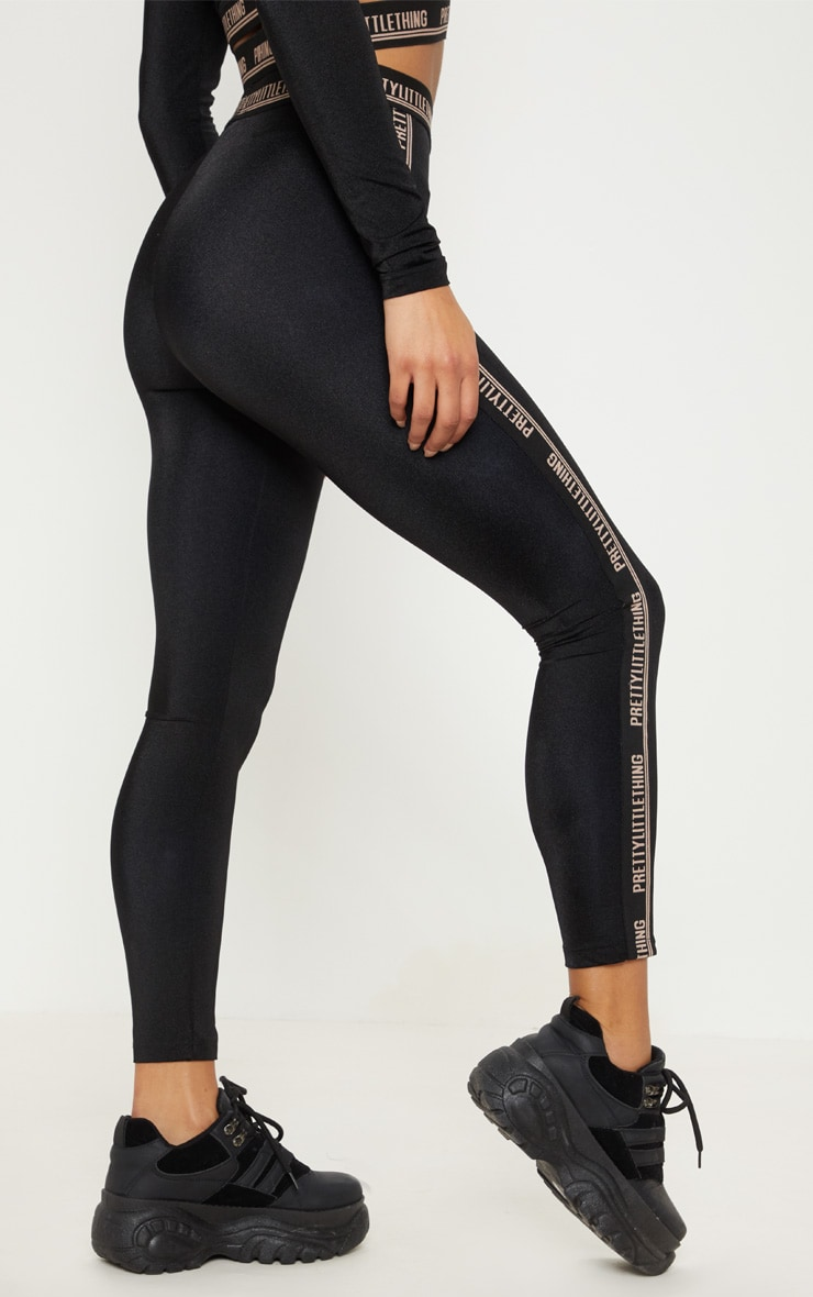 PRETTYLITTLETHING Black Side Tape Gym Legging 4