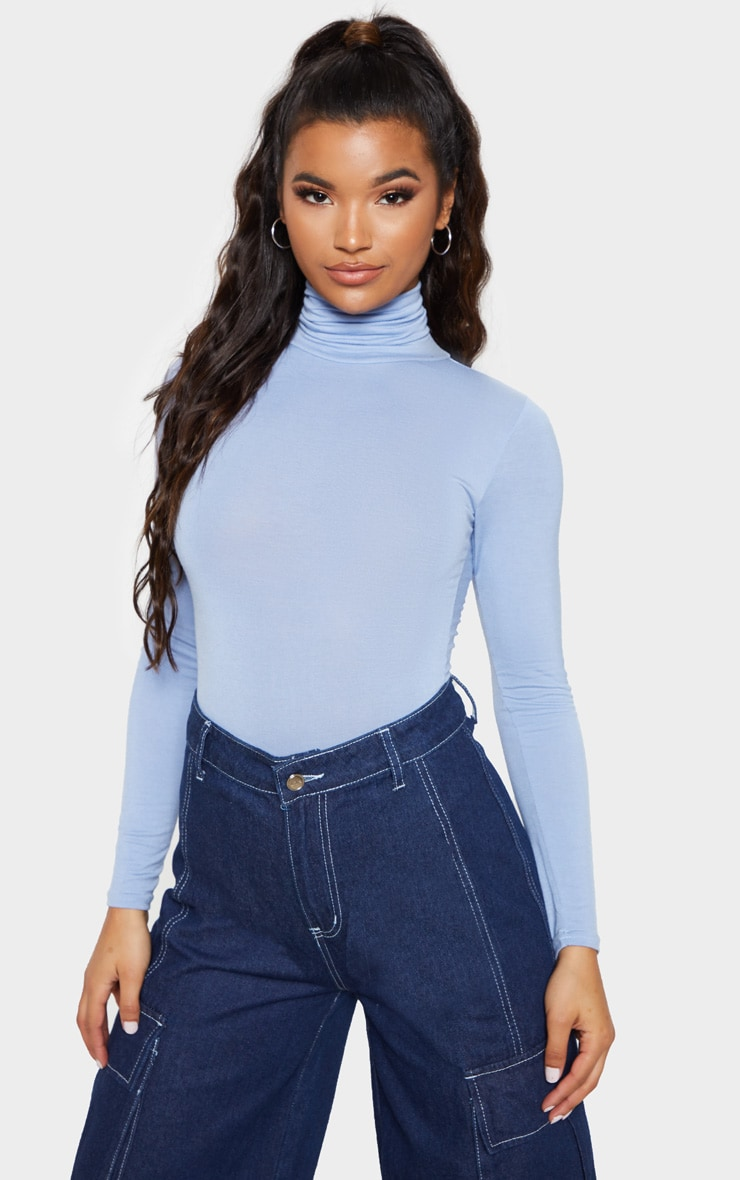 Baby Blue Roll Neck Long Sleeve Bodysuit 1