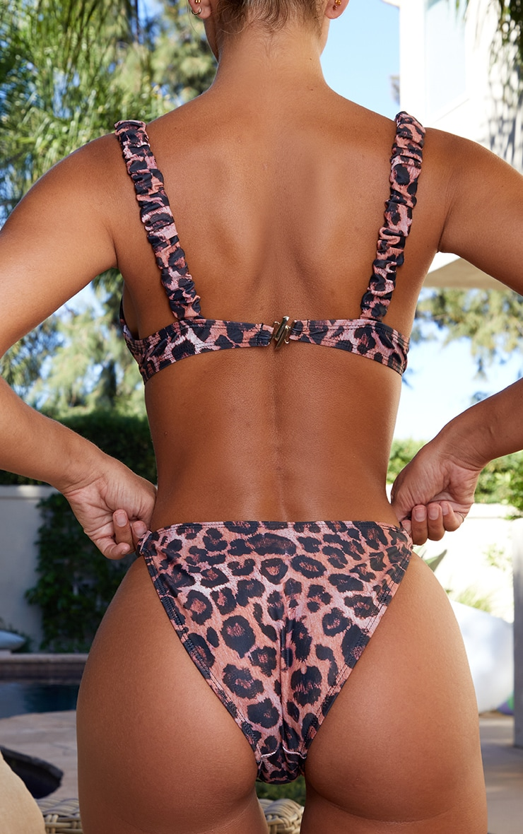 Leopard Ruched Tanga Bikini Bottom 3