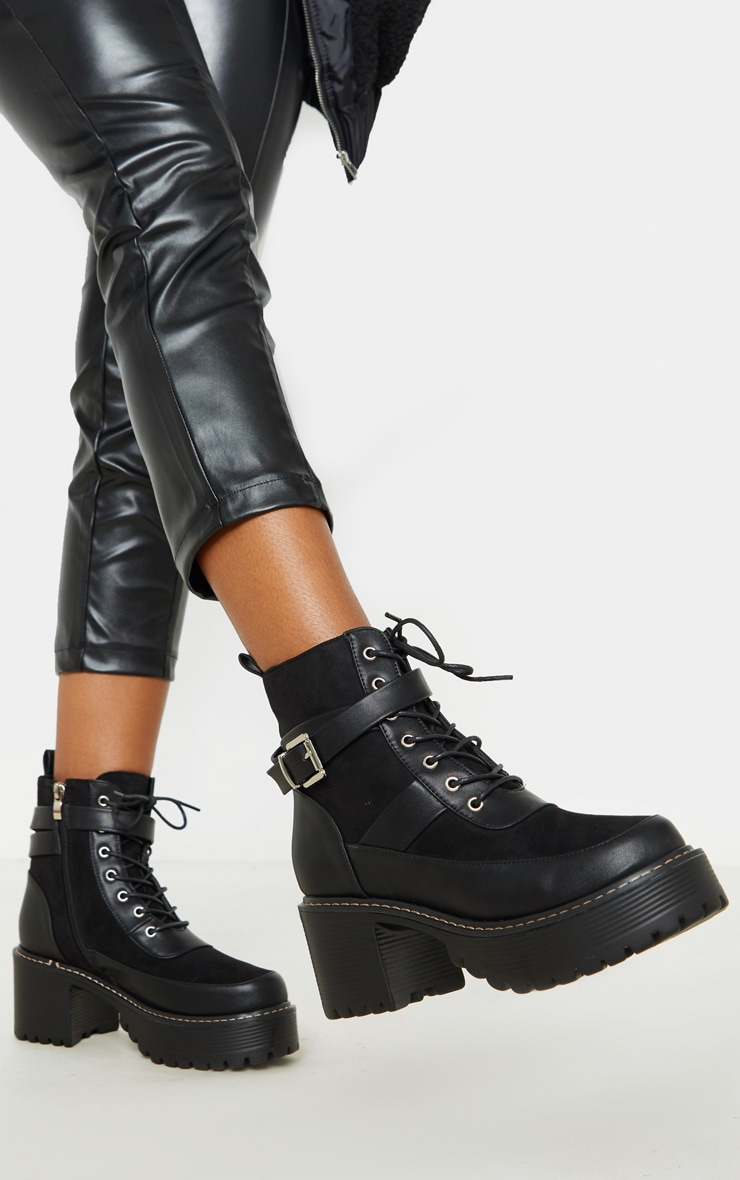 Black Cleated Platform Ankle Buckle Lace Up Ankle Boot 2