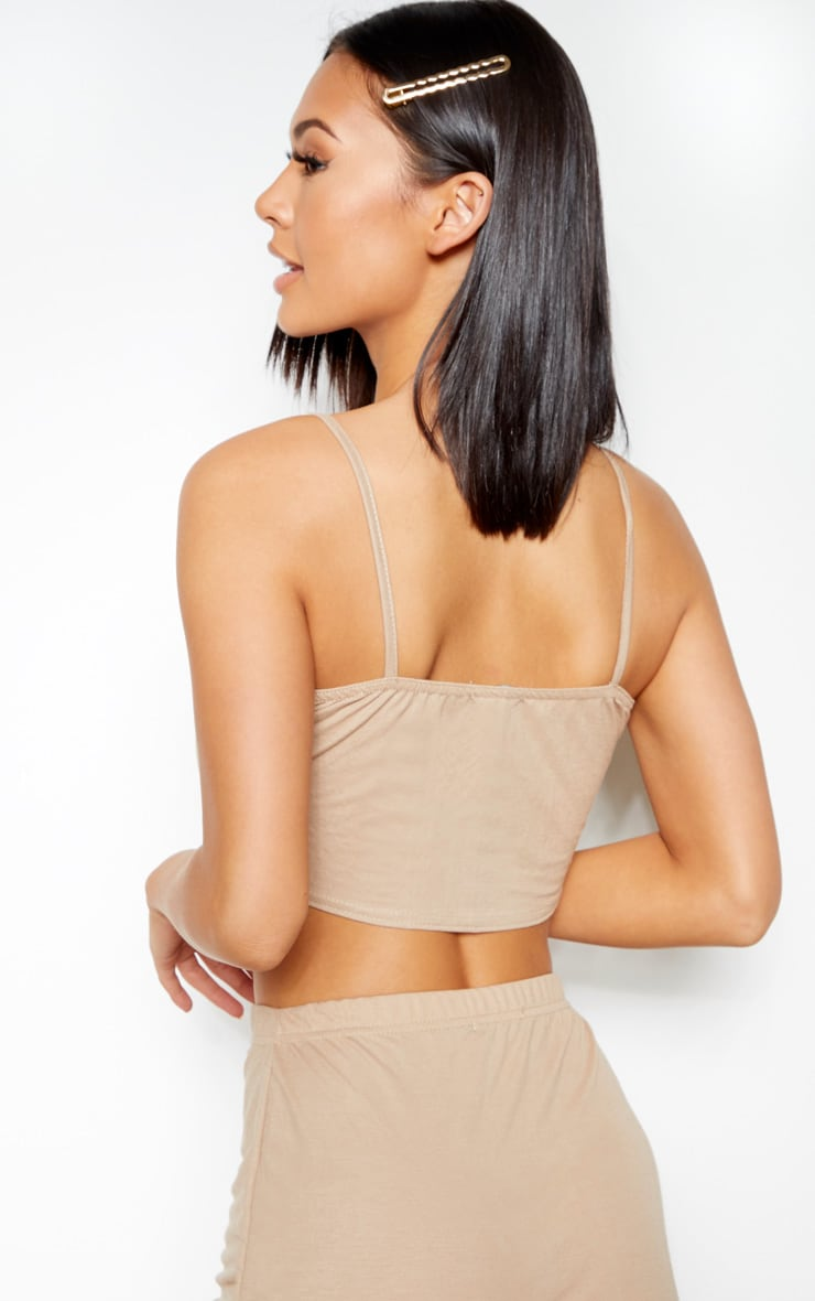 Stone Woven Tie Front Bralet 2