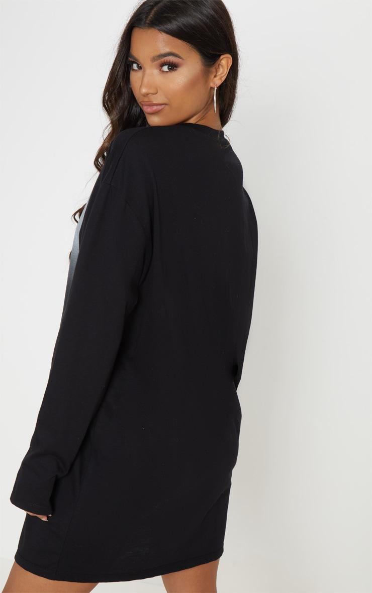 Bob Marley Slogan Black Oversized Long Sleeve T Shirt Dress 2