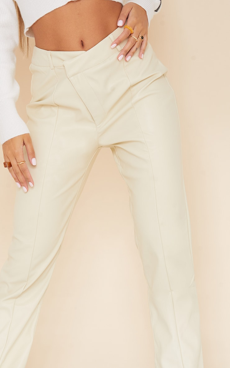 Cream Faux Leather V Front Skinny Trousers 4
