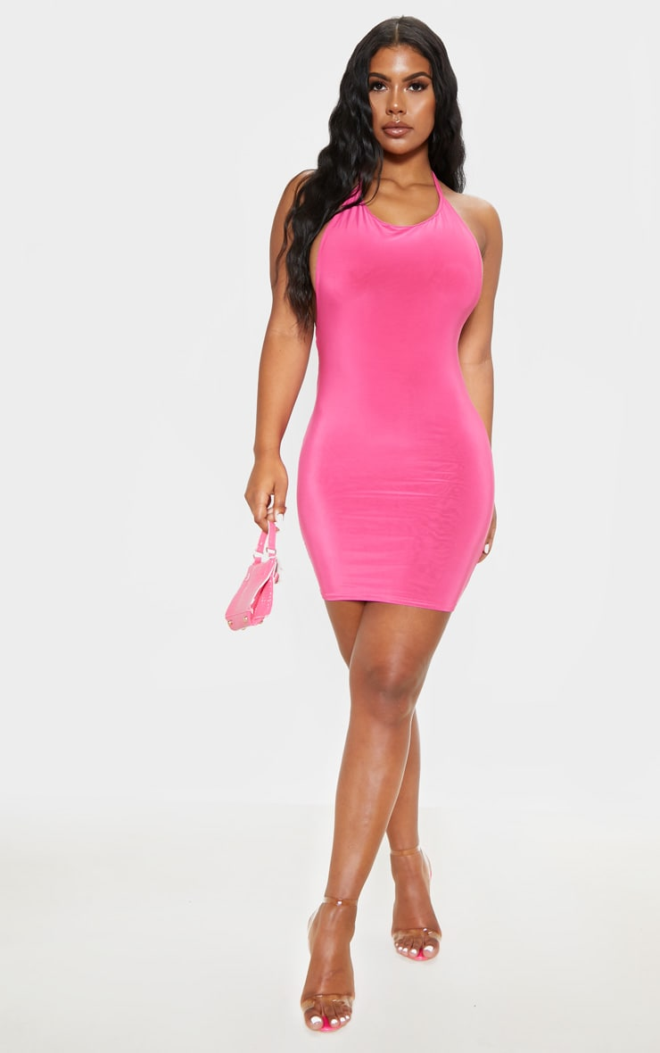 Bubblegum Pink Slinky Square Neck Ruched Back Bodycon Dress 1