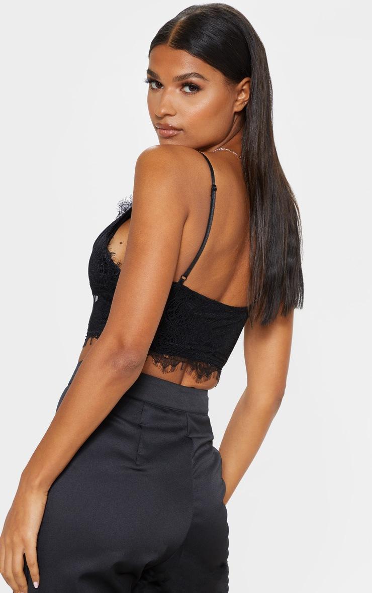 Hannah Black Eyelash Lace Corset Bralet 2