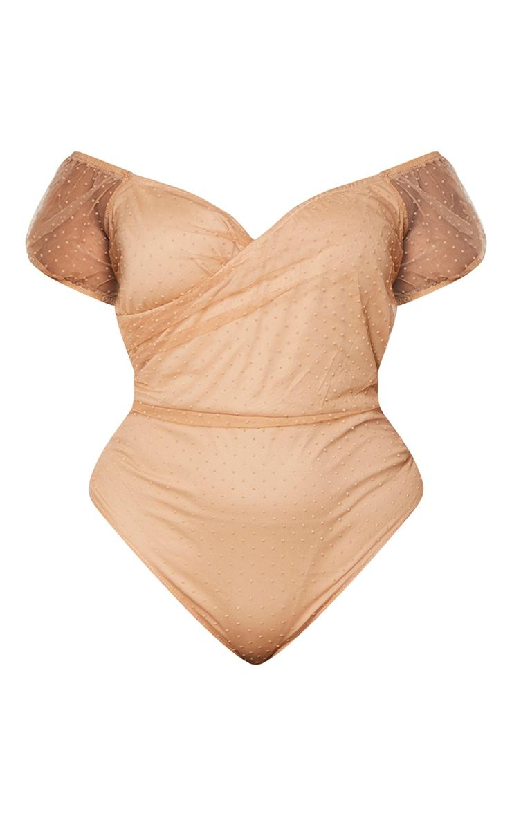 Plus Mocha Dobby Mesh Organza Wrap Bodysuit 5
