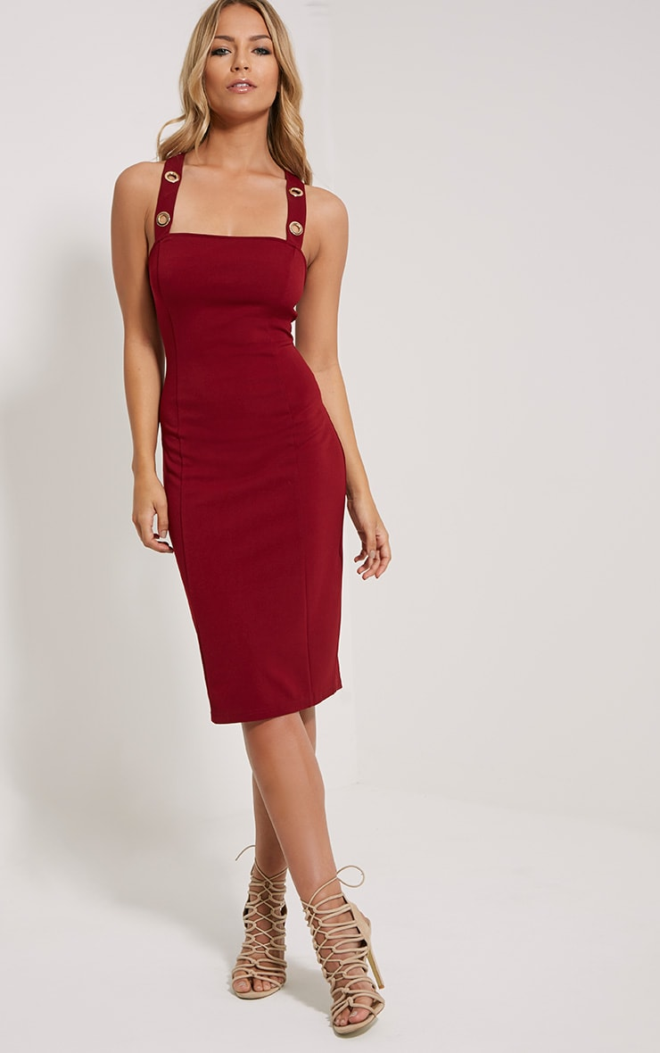 Dicie Wine Eyelet Midi Dress 1