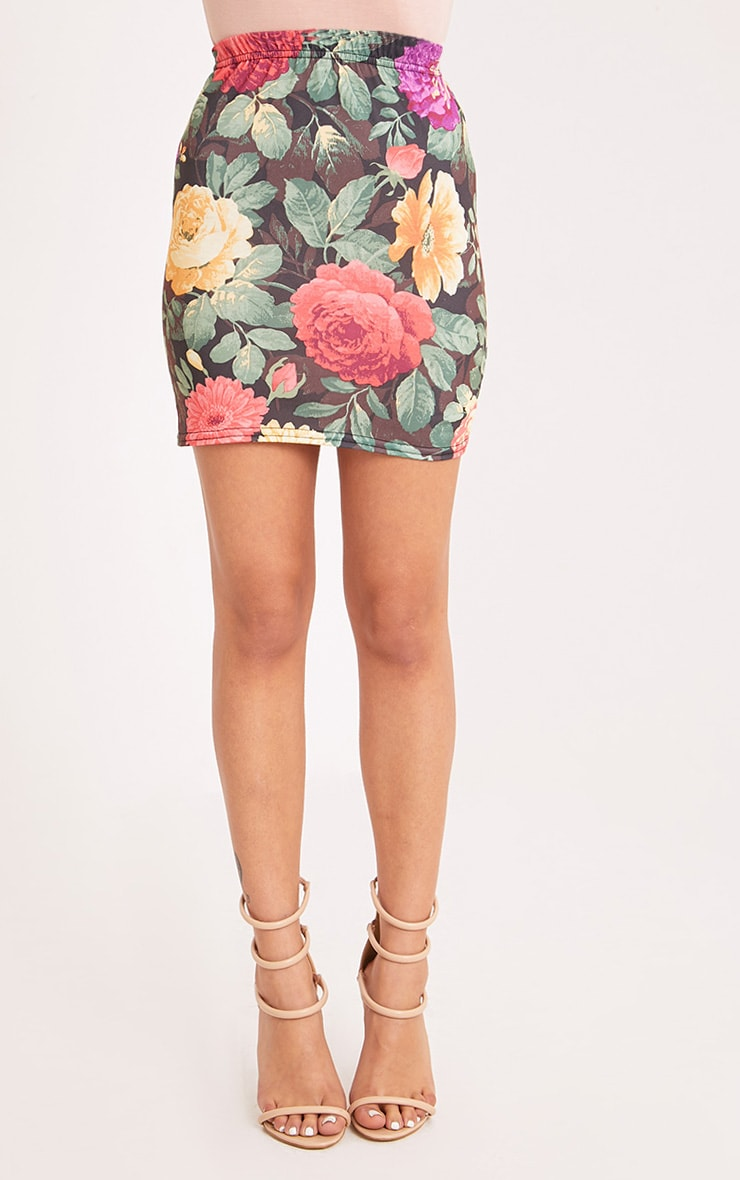 Hasana Black Large Floral Print Mini Skirt 2