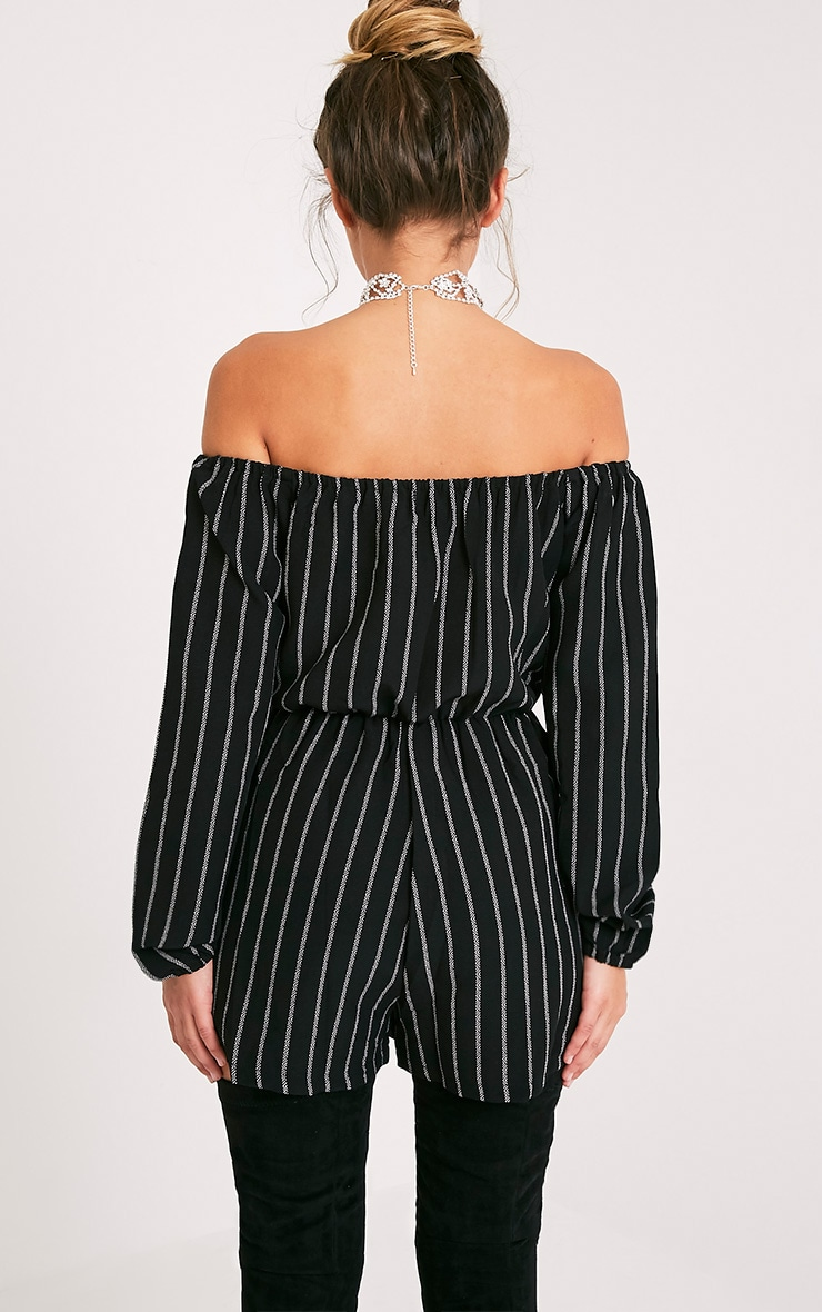 Kennie Monochrome Striped Bardot Playsuit 2