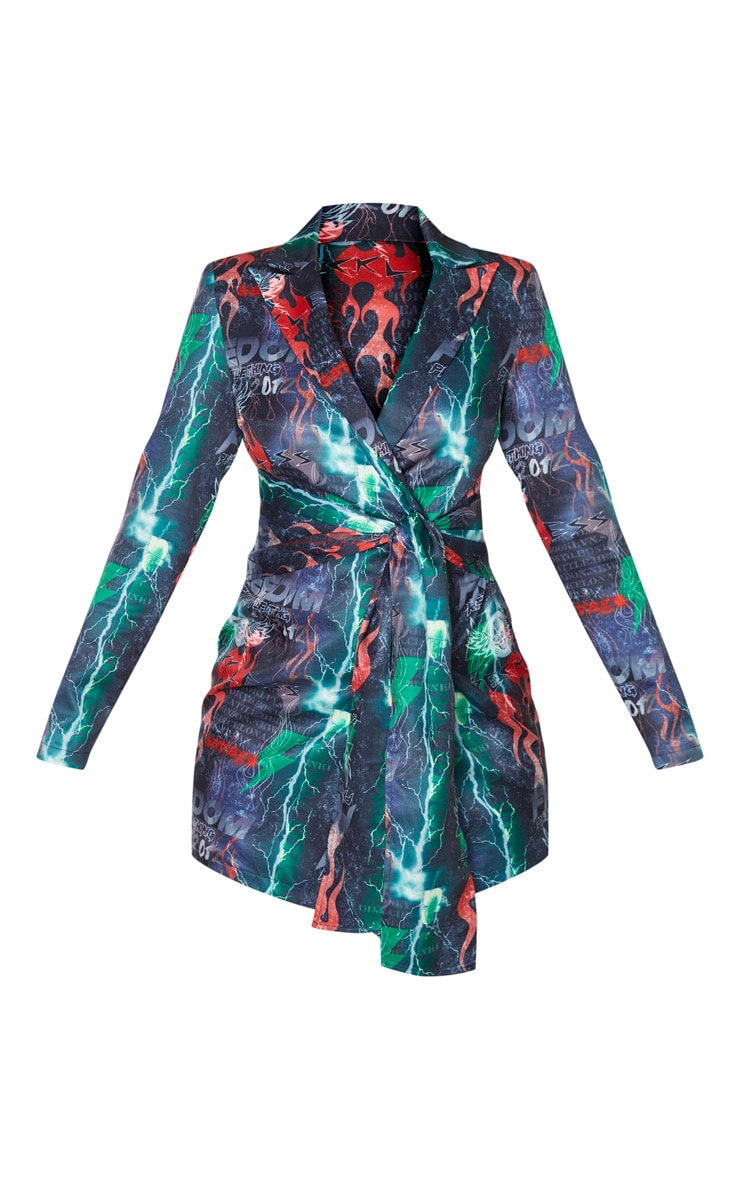 PRETTYLITTLETHING Multi Freedom Flame Print Wrap Blazer Dress 3