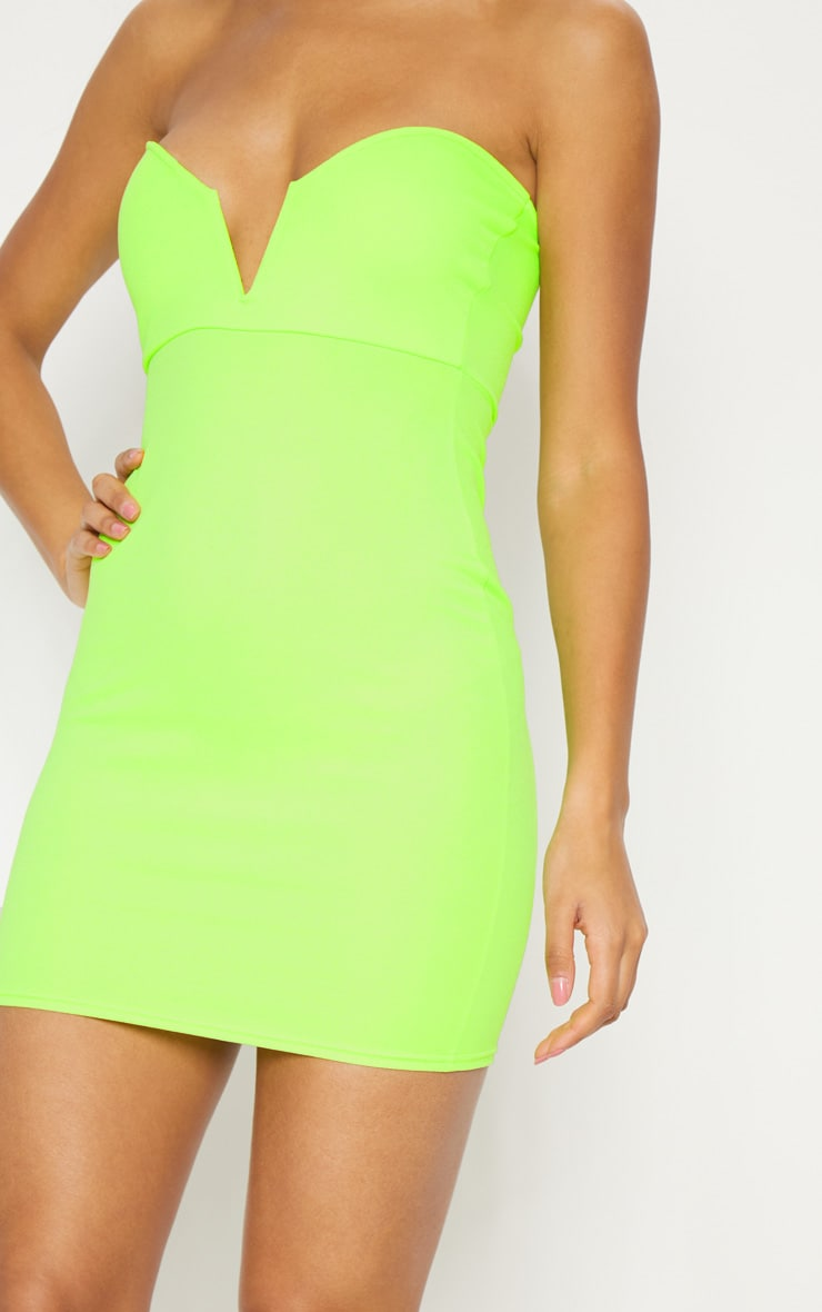 Neon Green Bandeau V Bar Bodycon Dress 5
