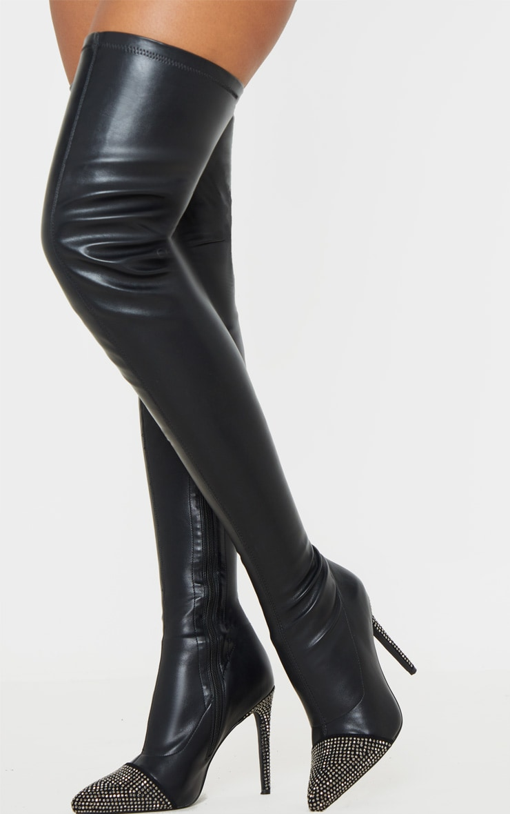 Black Diamante Embellished Thigh High Sock Boot 2